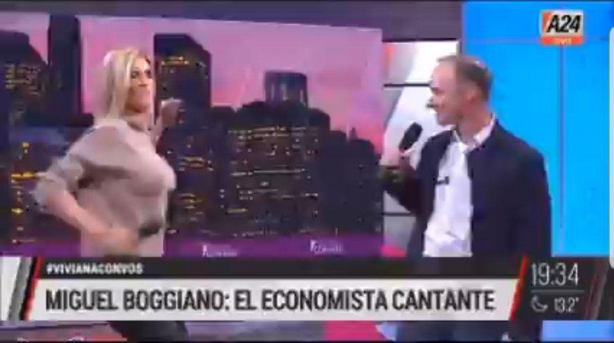 Viviana Canosa sumándose para cantar a dúo con su invitado