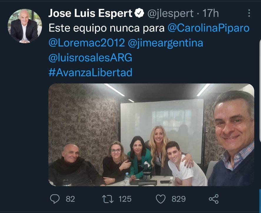 El Tweet de José Luis Espert con la llamativa frase que involucra a Carolina Píparo en la que se lee: Este equipo nunca para