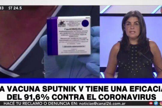 La periodista anti vacuna del Canal 26 que cuestiona la eficacia de la Sputnik