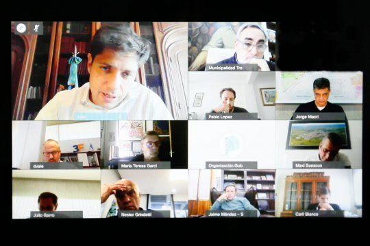 El gobernador Axel Kicillof mantuvo una reunión de forma virtual con los intendentes de Juntos por el Cambio.