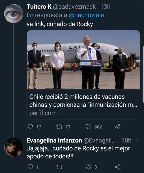 Sebastián Piñera, el Presidente de Chile recibiendo vacunas al igual que Alberto Fernández en el aeropuerto. Fue una de las réplicas a Nacho Viale por su Twitter provocador