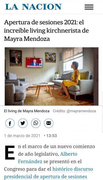 El artículo del diario La Nación sobre lo que califican como El increíble living de Mayra Mendoza por tener 2 cuadros y un tatuaje de Kirchner