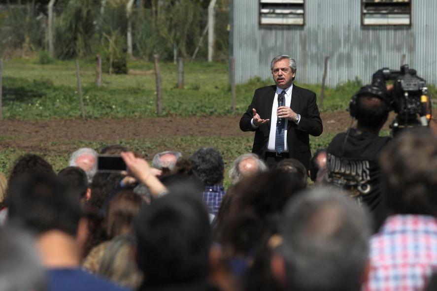 Alberto Fernández en el marco de un paro de las patronales agrarias: