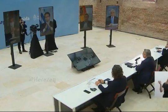 Momento preciso en el que el Presidente de Argentina, Alberto Fernández, le responde a su par uruguayo Luis Lacalle Pou, en la reunión virtual del Mercosur