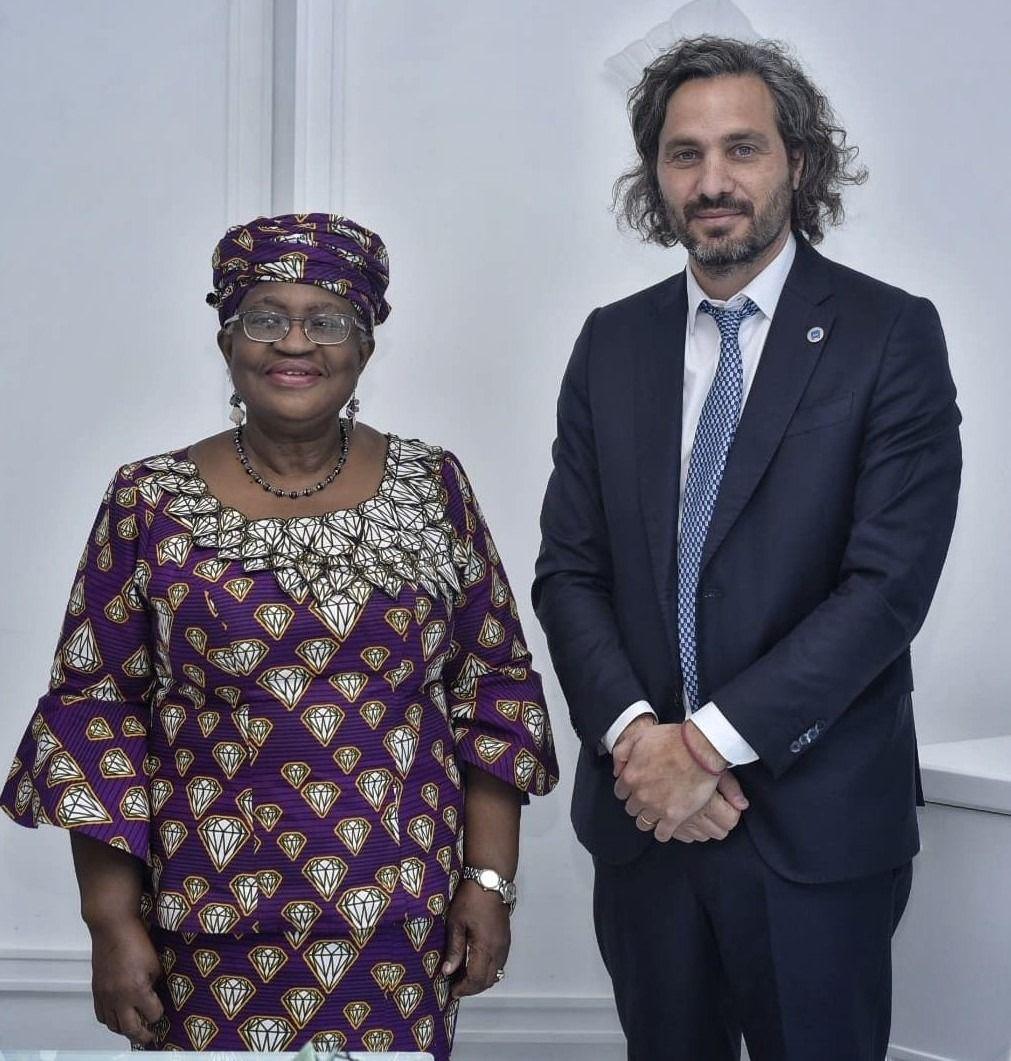 G20: Santiago Cafiero se reunió con directora general de la OMC, Ngozi Okonjo-Iweala