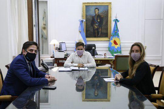 Axel Kicillof recibió a Nicolás Trotta y Agustina Vila, para pulir detalles sobre el regreso a las clases presenciales.