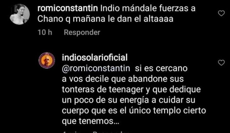 El Indio Solari le mandó un mensaje a Chano a través de su cuenta de Instagram