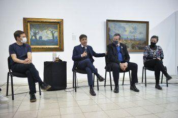 Axel Kicillof junto a Tristán Bauer en La Plata.