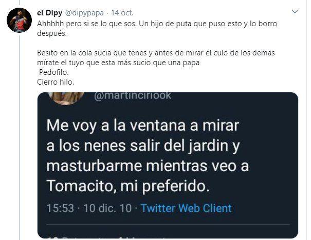 """Los tuits de """"La Faraona"""" salieron a la luz después de su cruce con El Dipy y Martín Cirio fue acusado de pedófilo"""