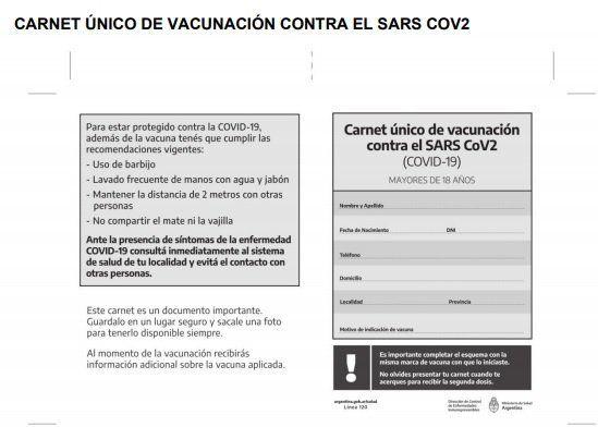 El Gobierno compró 20 millones de carnets para certificar la vacunación