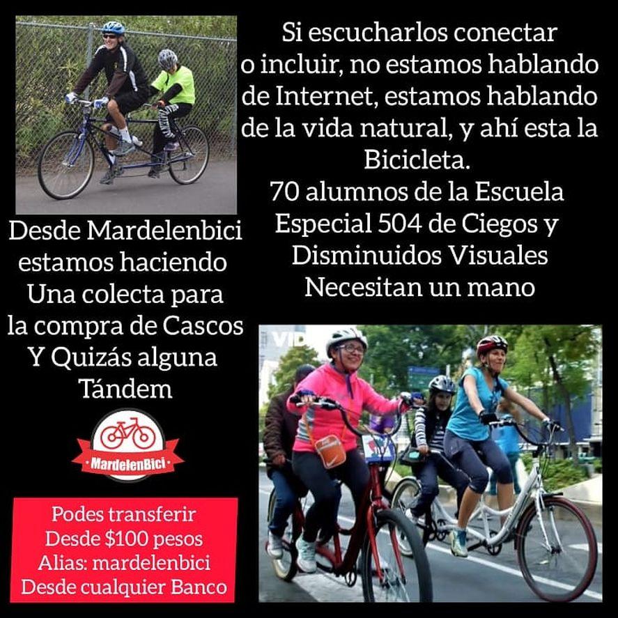 Mardel en Bici inició una campaña solidaria para conseguir bicicletas para la escuela