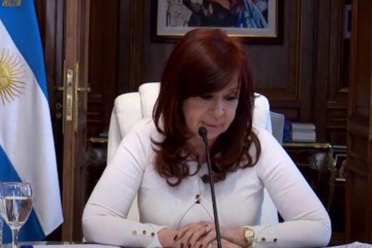 La vicepresidenta Cristina Fernández de Kirchner durante su exposición frente al TOF 8.
