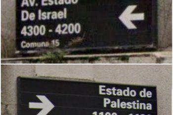 Los carteles que marcan la intersección de Estado de Israel y Estado de Palestina, la esquina con el inconveniente de tránsito informado pir cel Gobierno de la ciudad de Buenos Aires