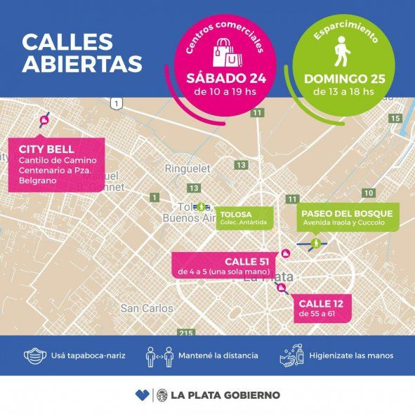 Este fin de semana volverán a instalarse peatonales en áreas estratégicas de La Plata