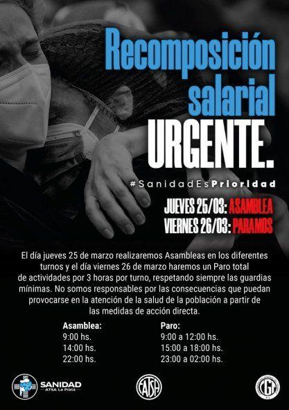 Flyer paro de la convocatoria de trabajadores de la salud