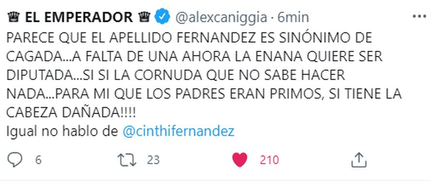 Alex Caniggia contra Cinthia Fernández