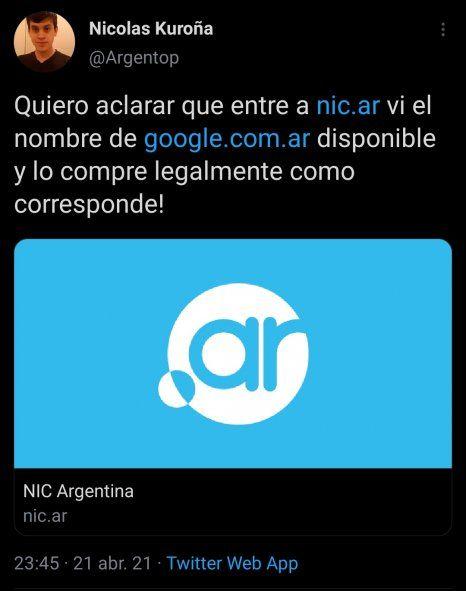 El Tweet original en donde el argentino Kuroña informa haber comprado inocente y legalmente un dominio caído en Nic.ar, el de la empresa Google, lo cual fue real