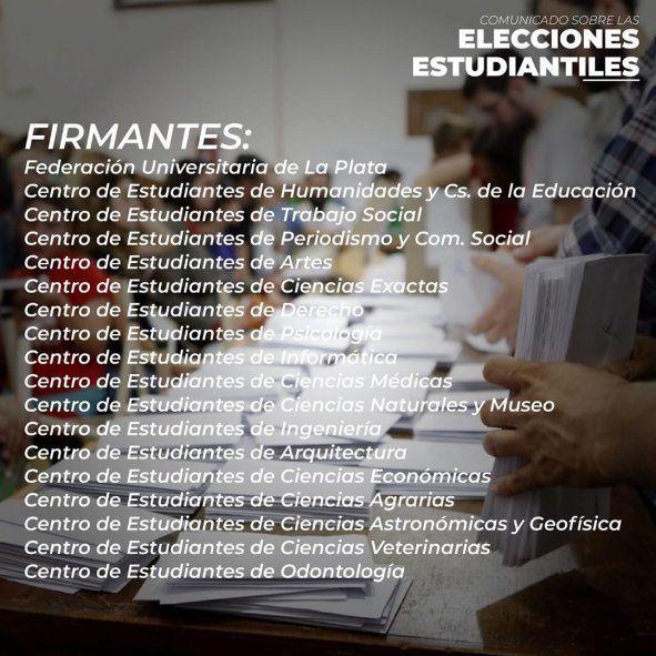 Los centros de estudiantes de la Universidad Nacional de La Plata postergaron las elecciones