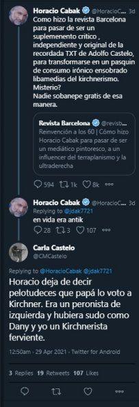 La secuencia de tweets y réplicas de Horacio Cabak, la Revista Barcelona y Carla Castelo identificándose a ella, a su hermana Daniela y a su difunto padre con el kirchnerismo