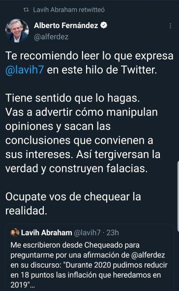 """El mensaje original del Presidente Alberto Fernández recomendando la lectura del tuit del economista Levy Abraham sobre la calificación de """"Chequeado"""" a los dichos acerca de la inflación 2020."""