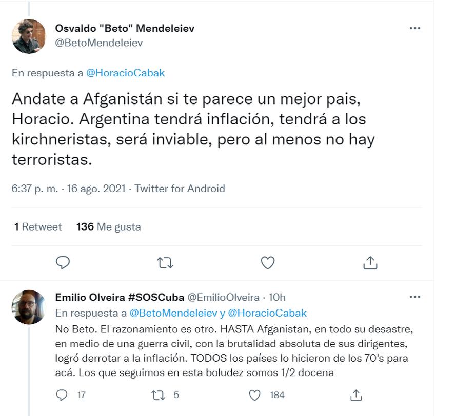 Respuestas a Horacio Cabak por un tuit sobre Afganistán