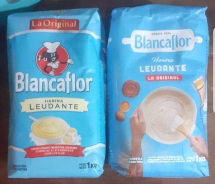El viejo y el nuevo paquete de harina leudante Blancaflor. Antes con el personaje de la negrita que ahora fue quitado por razones de adaptación a las nuevas épocas de convivencia social no estigmatizante