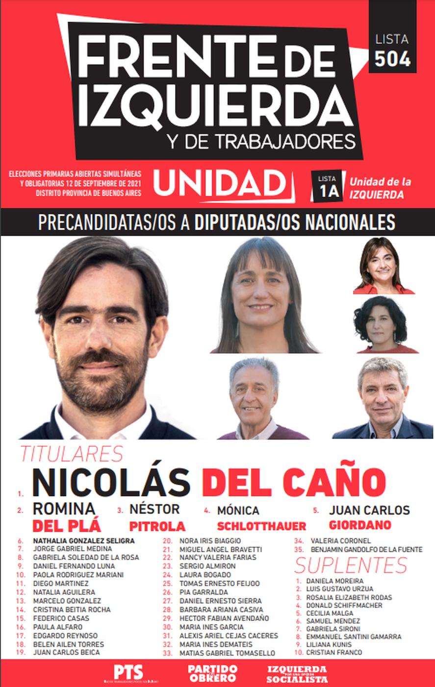 ELecciones 2021: la boleta del Frente de Izquierda Unidad