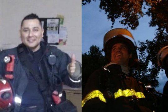 Maximiliano Firma Paz y Ariel Gastón Vázquez, los bomberos fallecidos en el incendio (Fotos: Facebook)