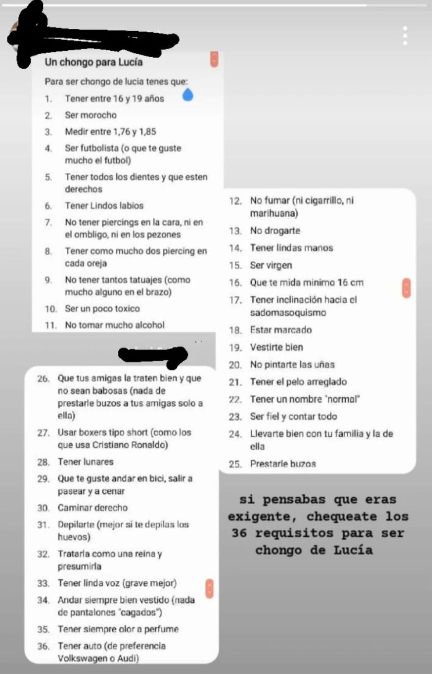 La lista completa de Lucía