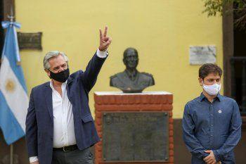 El Presidente visitó el lugar donde estuvo detenido Perón en 1945 junto a Kicillof