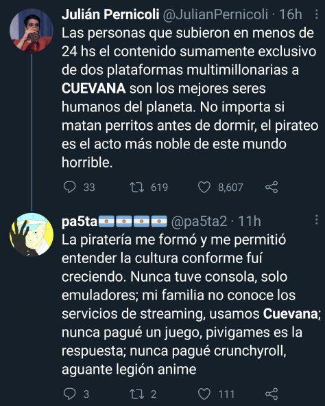 Argentinos en Twitter defendiendo el pirateo de películas y juegos online