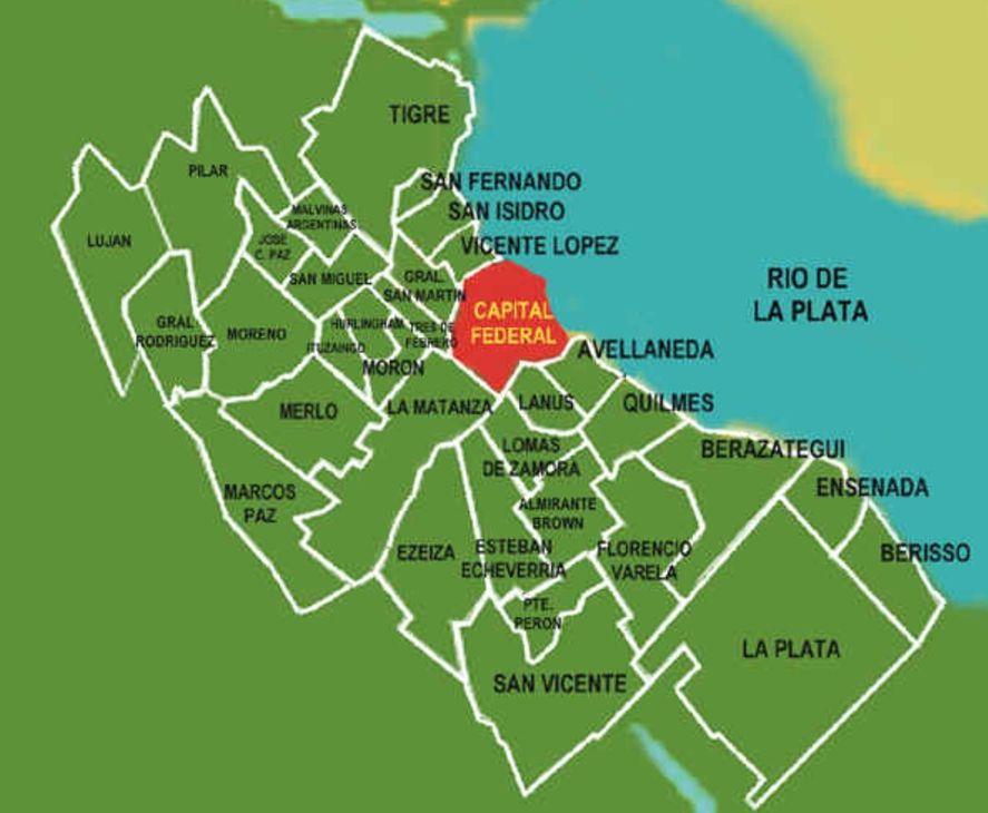 Algunos mapas incluyen a La Plata como parte del conurbano. Otros