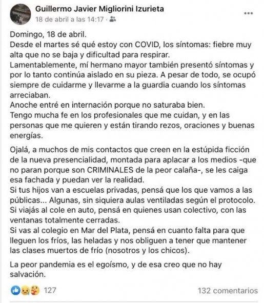 Guillermo Javier Migliorini Izurieta tenía 27 años: tenía una enfermedad preexistente y murió tras contagiarse coronavirus.