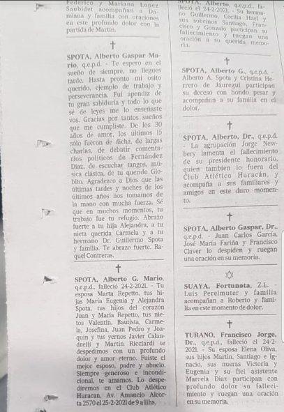 Captura de los avisos fúnebres de hoy del diario La Nación con las despedidas de la esposa y de la amante del fallecido Dr. Spota