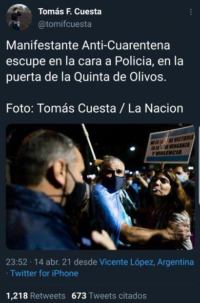 El Tweet original de la cuenta personal del fotógrafo Tomás Cuesta en el cacerolazo de Olivos