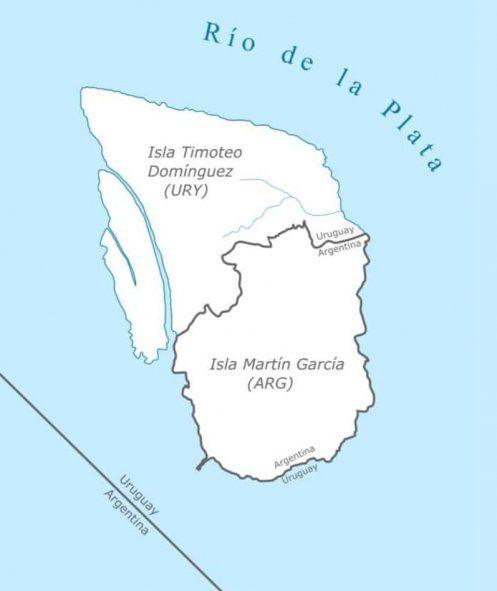 La isla Martín García se constituye la única frontera terrestre que marca el límite entre Argentina y Uruguay