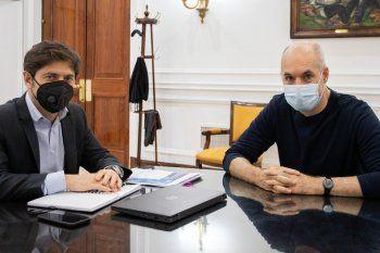 El gobernador Kicillof cuando recibió en La Plata al jefe de Gobierno porteño, Horacio Rodríguez Larreta.