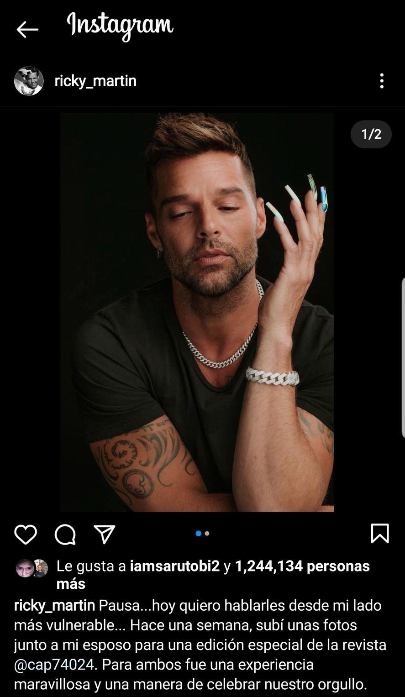 La publicación de su cuenta de Instagram en la que Ricky Martin se muestra decepcionado en el propio Día del orgullo LGBTIQA+ por los seguidores que lo abandonaron a partir de fotos eróticas junto a su esposo