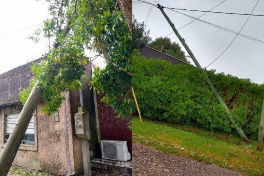 desesperante: dos postes de movistar quedaron colgando sobre una casa y la empresa no da respuestas