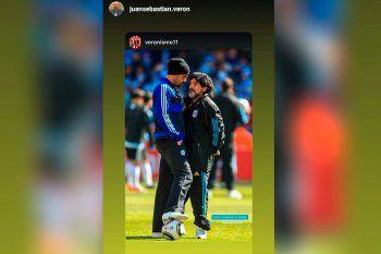 Verón saludó a Maradona por su cumpleaños.