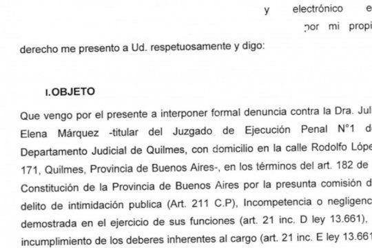 piden juicio politico a una jueza de quilmes por brindar datos erroneos sobre la liberacion de presos
