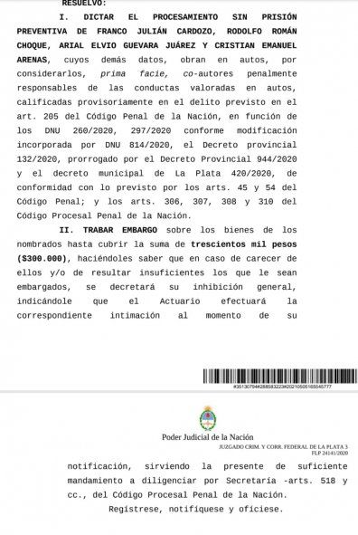 Fiesta clandestina en La Plata: dictan procesamiento y embargo de bienes a cuatro imputados