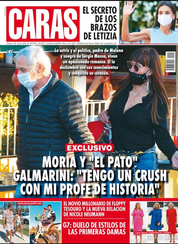 La tapa de la revista Caras que dio a conocer el sorprendente romance entre Moria Casán y Fernando Pato Galmarini