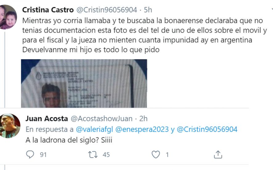 Juan Acosta se pasó de vivo y se desubicó con la mamá de Facundo Astudillo