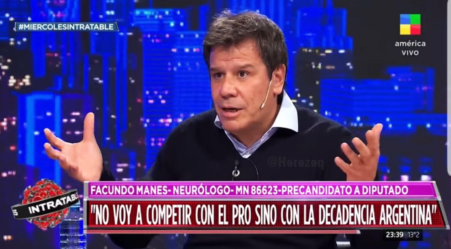 Facundo Manes le dijo a Fantino que su interna no es con el PRO sino con la decadencia argentina