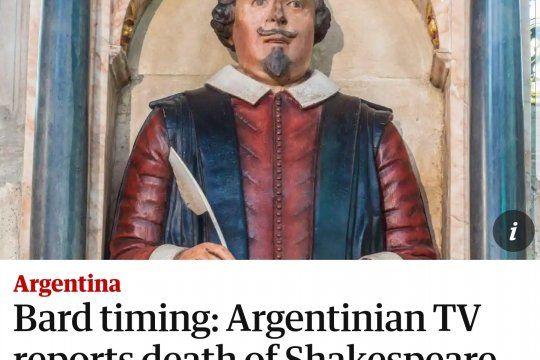 El diario inglés The Guardian refleja el blooper de la presentadora de noticias del Canal 26 sobre la muerte de William Shakespeare
