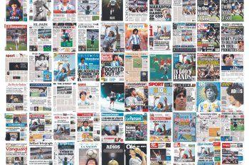 Las tapas de los diarios de todo el mundo también lloraron a Maradona.