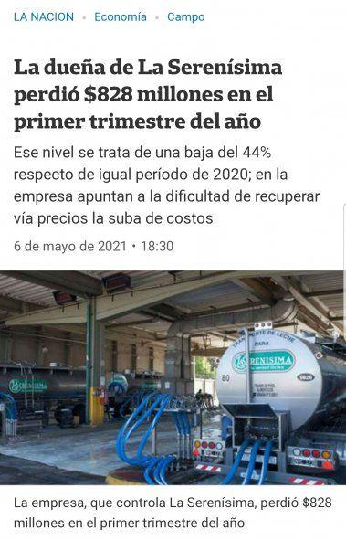 """El artículo del diario La Nación que cuenta casi como una """"publinota"""" las pérdidas de """"La Serenísima"""", la empresa láctea mas importante del país por no poder recuperar """"vía precios"""" su ganancia"""