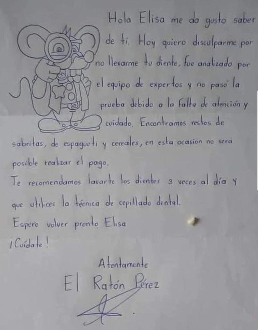La carta viralizada del Ratón Pérez a la pequeña Elisa, rehusándose a abonarle un estipendio por haber perdido su diente de leche sin tener más atención y cuidado. ¿Rata o buen educador?