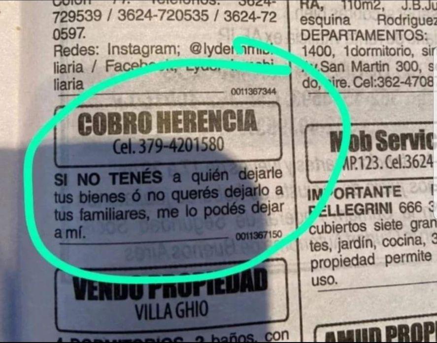 El insólito aviso clasificado, postulándose a cobrar herencia, aparecido en un diario de Corrientes y otro de Chaco